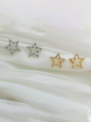 Copper Cubic Zirconia Star Dainty Stud Earring