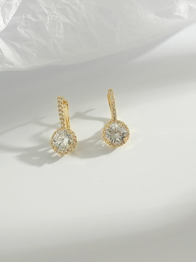 Copper Cubic Zirconia White Round Dainty Huggie Earring