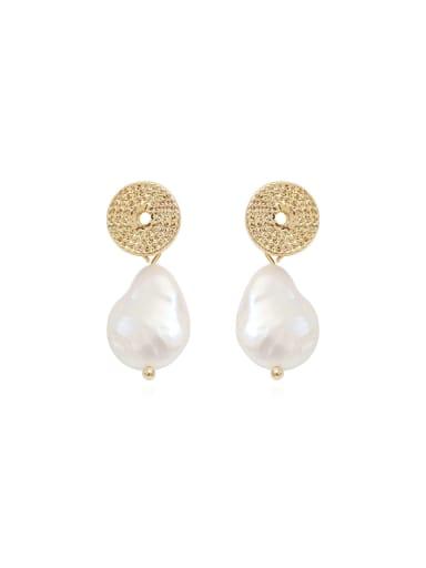 Copper Freshwater Pearl White Geometric Minimalist Drop Earring