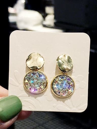 White Mixed Metal Crystal Multi Color Round Trend Drop Earring