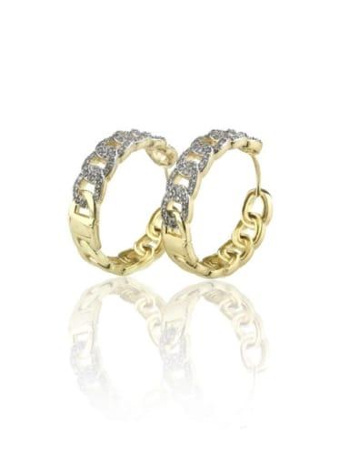 Brass Cubic Zirconia Round Minimalist Hoop Earring