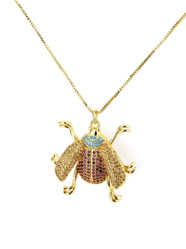 Brass Cubic Zirconia Insect Cute Necklace