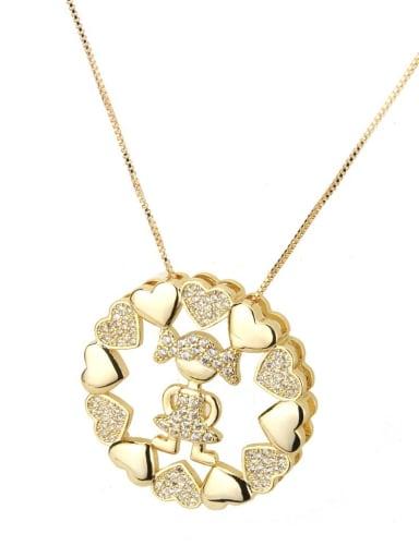 Zirconium white girl Brass Cubic Zirconia Heart Dainty Necklace