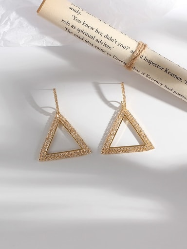 Gold Copper Rhinestone Triangle Minimalist Drop Earring