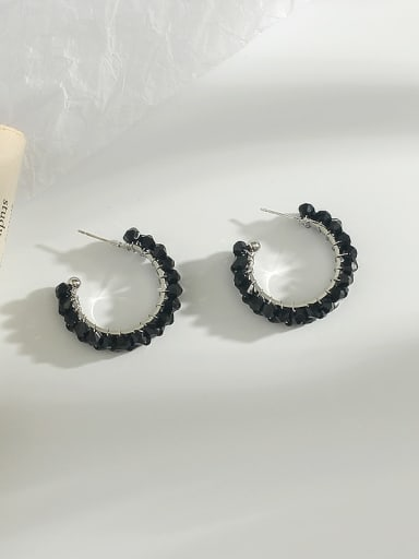 White K black crystal Copper Crystal  Cute Exaggerated circle hollow  Stud Earring