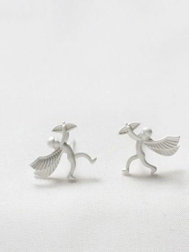 Dumb Silver Copper Angel Cute Stud Earring