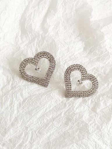White K Copper Cubic Zirconia Heart Dainty Stud Earring
