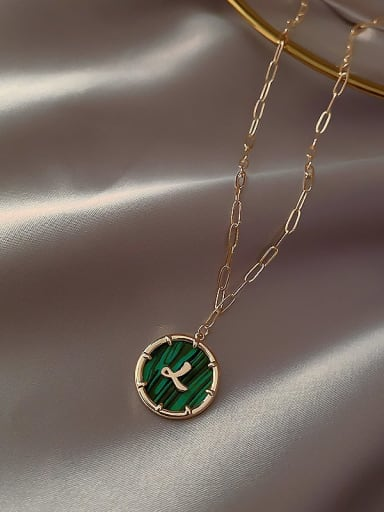 Golden number Zinc Alloy Green Letter Trend Initials Necklace