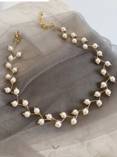 Zinc Alloy Imitation Pearl White Locket Trend Choker Necklace