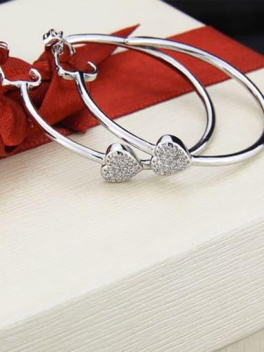 Platinum plating Brass Cubic Zirconia Heart Minimalist Hoop Earring