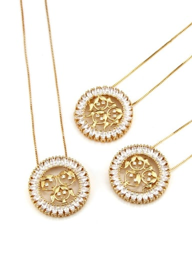 Brass Cubic Zirconia Round Cute Girl Pendant Necklace