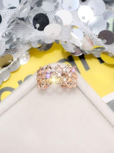 rose gold Alloy+ Rhinestone White Geometric Artisan Band Ring/Free Size Ring