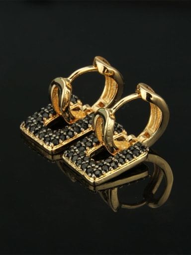 Gold Plated Black zircon Brass Cubic Zirconia Square Luxury Huggie Earring