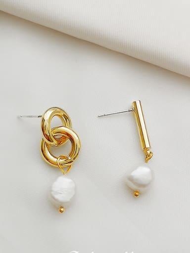 14K  gold Copper Imitation Pearl Geometric Dainty Drop Earring