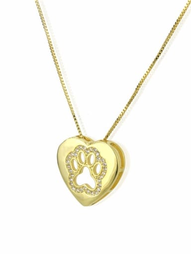 gold-plated Brass Cubic Zirconia Heart Dainty Necklace