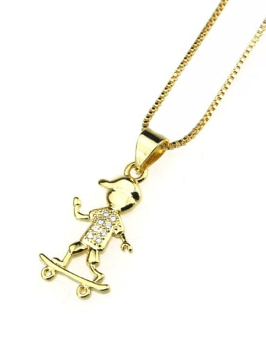 Gold plated white zirconium Brass Cubic Zirconia Angel Cute Necklace
