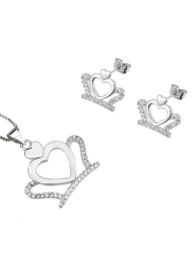Platinum plating Brass Crown Cubic Zirconia Earring and Necklace Set