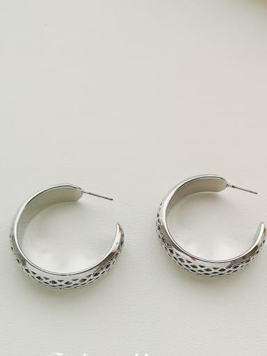 White K Copper Round Minimalist Hoop Earring