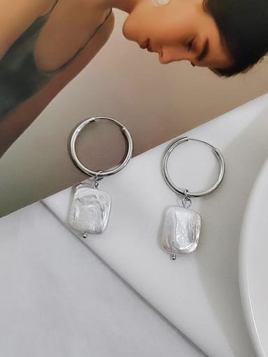 White K Copper Freshwater Pearl Geometric Minimalist Huggie Earring