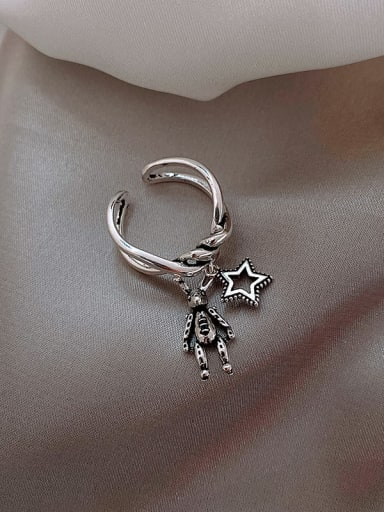 Star Alloy +Star With Rabbit Trend Band Ring/Free Size Ring