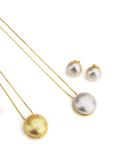 Brass Vintage Round ball Earring and Necklace Set