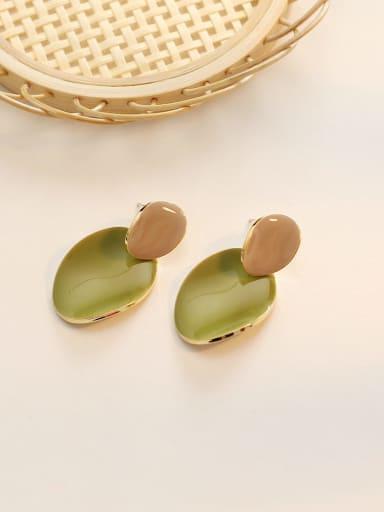 14K  Taurus fruit green Copper Enamel Geometric Minimalist Drop Earring