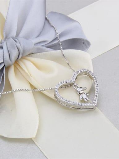Brass Cubic Zirconia Hollow Heart Dainty Pendant Necklace
