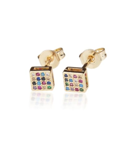 Brass Rhinestone Square Dainty Stud Earring