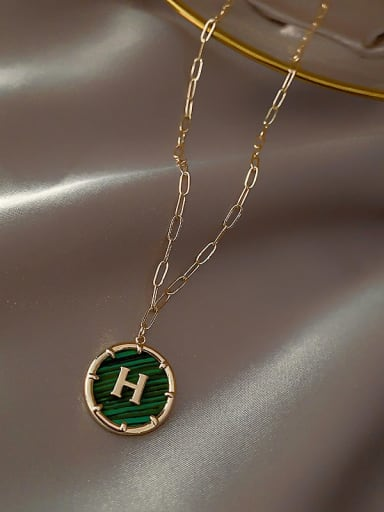 Green(H) Zinc Alloy Green Letter H Trend Initials Necklace