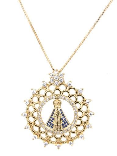 Brass Cubic Zirconia Round Ethnic Regligious Necklace