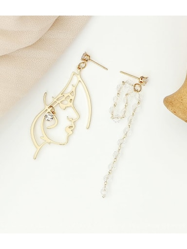 14K gold Copper Crystal Tassel Minimalist Drop Earring
