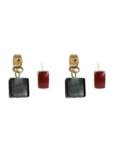 Copper Shell Geometric Minimalist Stud Earring