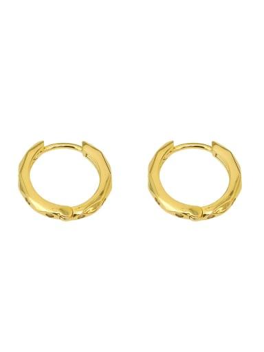 Copper Rhinestone Geometric Minimalist Huggie Earring