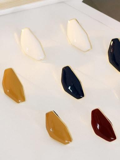 Copper Enamel Geometric Ethnic Stud Earring