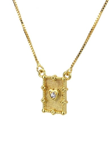 Brass Rhinestone Rectangle Vintage Necklace