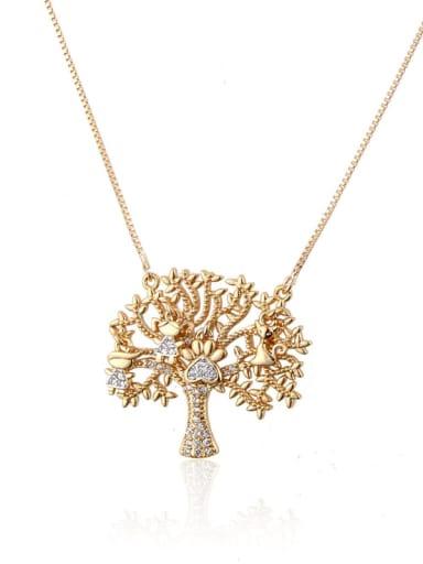 Gold plated white zirconium Brass Cubic Zirconia Tree Trend Necklace