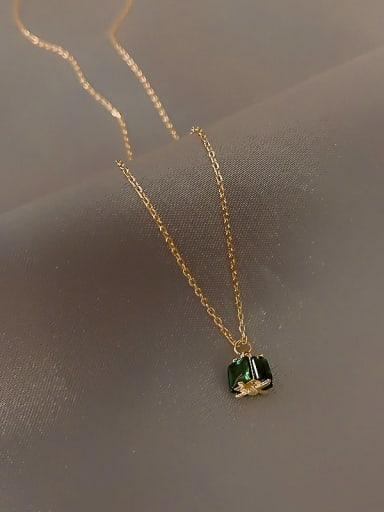 Zinc Alloy Green Locket Trend Necklace