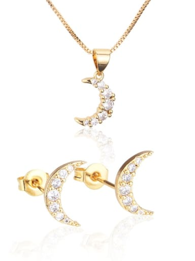 Brass Moon Cubic Zirconia Earring and Necklace Set