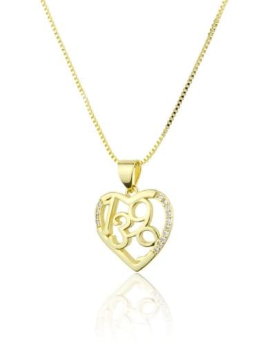 Brass Rhinestone Number Minimalist Necklace