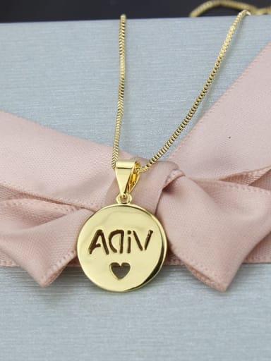 Brass Round Minimalist Initials Necklace