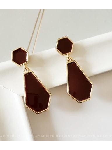 14K gold Copper Enamel Geometric Vintage Drop Earring