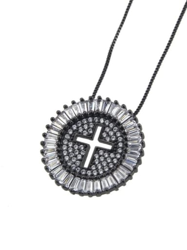 Black plating Brass Cubic Zirconia Cross Dainty Initials Necklace