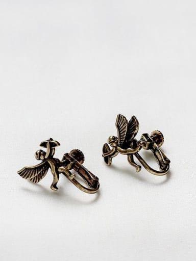 Ancient gold ear clasp Copper Angel Cute Stud Earring