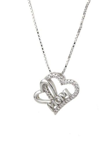 White zirconium plating Brass Cubic Zirconia Heart Minimalist Necklace