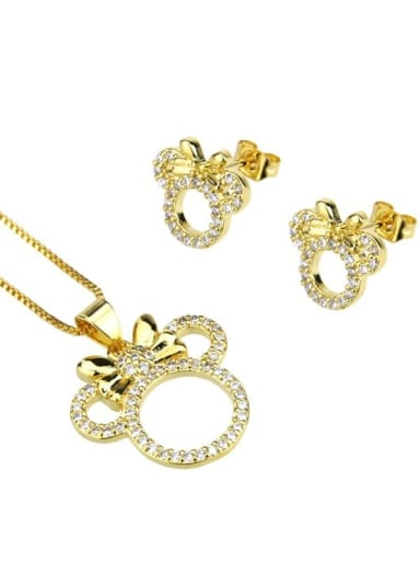 gold-plated Brass Cubic Zirconia  Cute Mouse Earring and Necklace Set