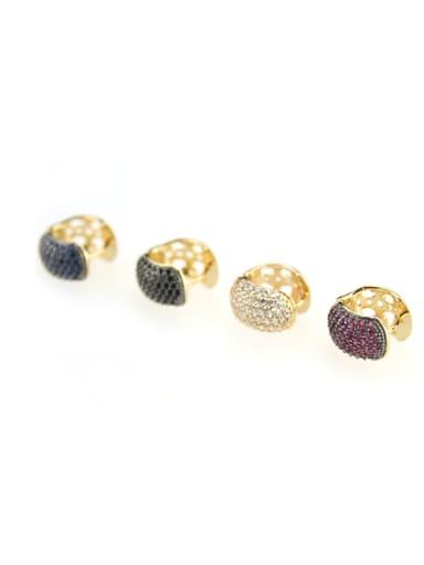 Brass Cubic Zirconia Round Minimalist Clip Earring