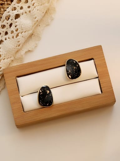 black Copper Enamel Water Drop Minimalist Stud Earring