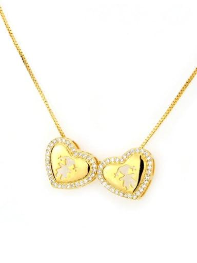 Gilded Girl Girl Brass Cubic Zirconia Heart Dainty Necklace
