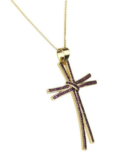 Gold Plated Red zirconium Brass Rhinestone Cross Dainty Regligious Necklace