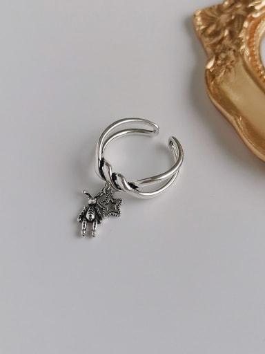 Ancient silver Copper Rhinestone  Retro Twisted Rabbit Star  Ring